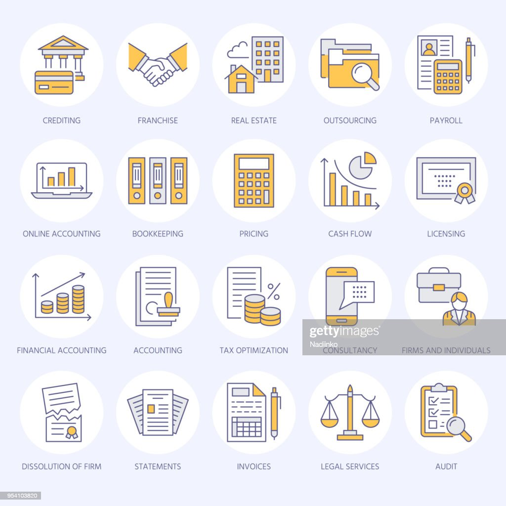 Financial accounting flat line icons. Bookkeeping, tax optimization, firm dissolution, accountant outsourcing, payroll, real estate crediting. Accountancy finance thin linear signs for legal services