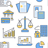 Financial accounting seamless pattern with flat line icons. Bookkeeping background, tax optimization, loan, invoice, real estate crediting. Accountancy, finance colored backdrop for legal services