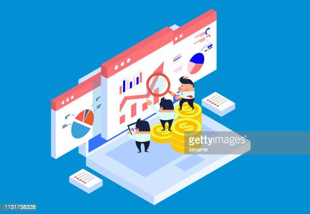 financial analysis and learning - big data isometric stock illustrations