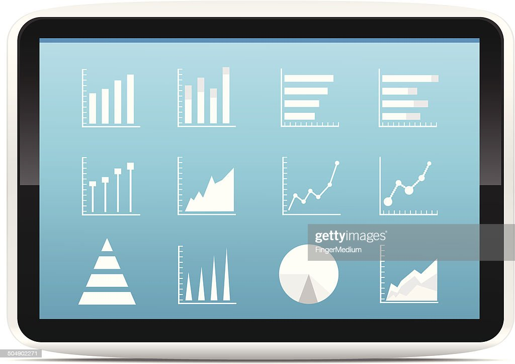 Financial Analysis data on a tablet : stock illustration