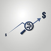 Financial Analysis Symbol with Chart and Magnifying Glass
