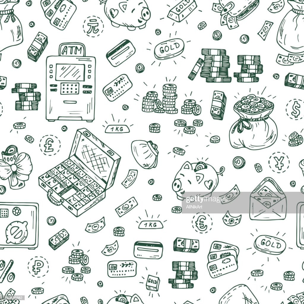 Financial and Business symbols. Hand drawn Doodles Money Seamless pattern