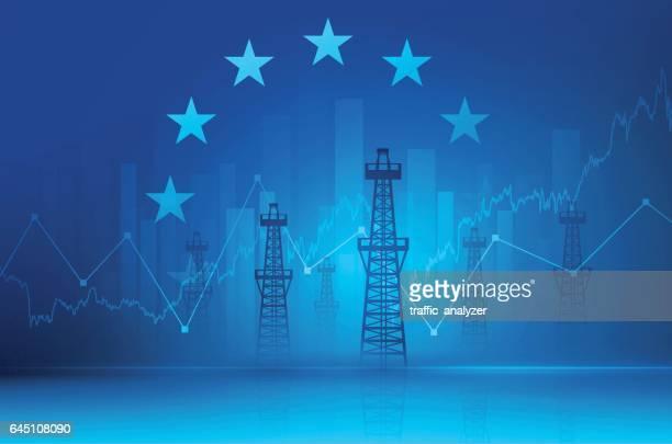 ilustraciones, imágenes clip art, dibujos animados e iconos de stock de antecedentes financieros-torres de petróleo - torre petrolera