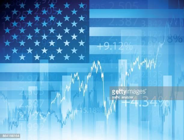 usa finanziellen hintergrund - kurstafel stock-grafiken, -clipart, -cartoons und -symbole