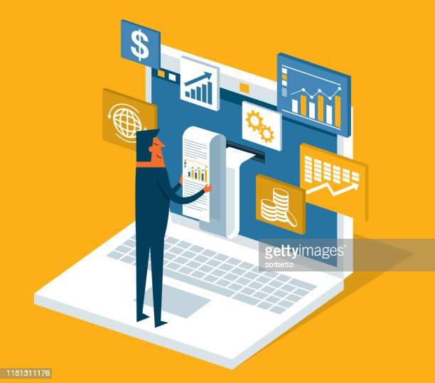financial billing data - businessman - accountancy stock illustrations