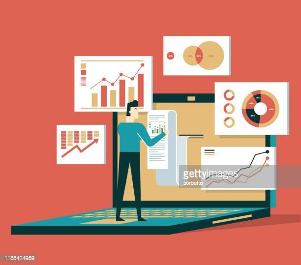 finanzabrechnungsdaten - geschäftsmann - investition stock-grafiken, -clipart, -cartoons und -symbole