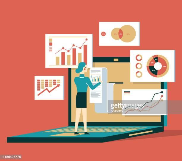 financial billing data - businesswoman - accountancy stock illustrations