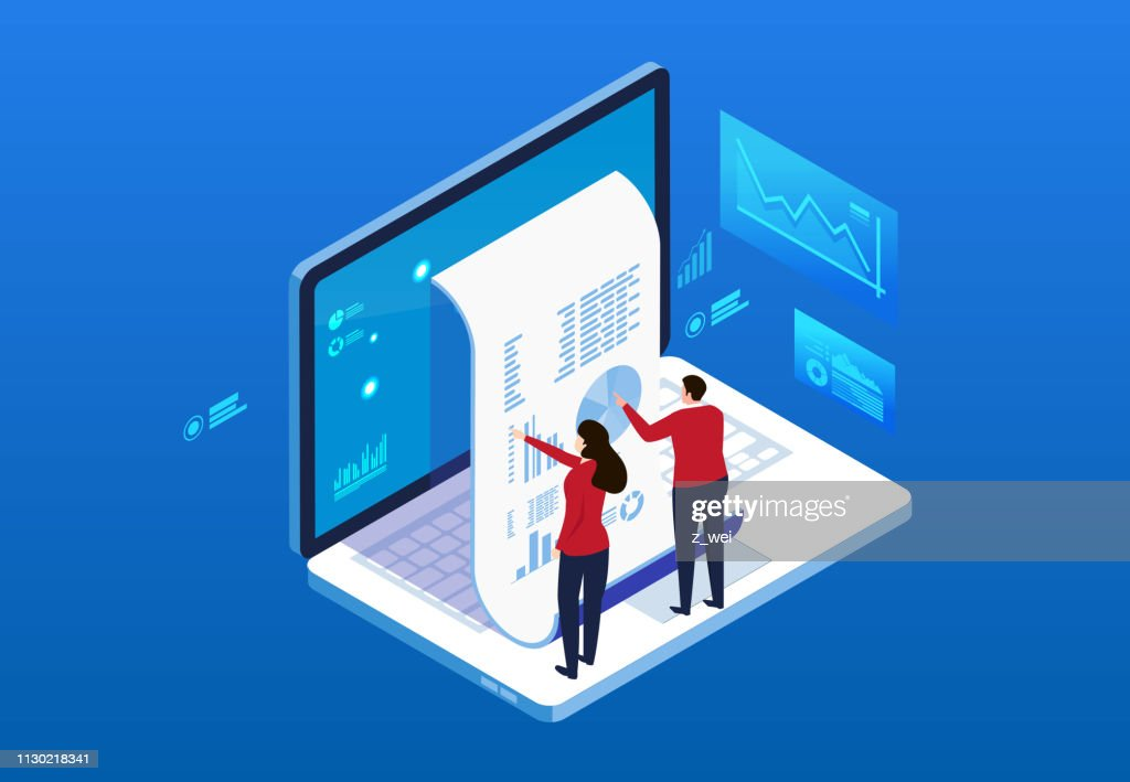 Financial billing data statistics and bill payment notice : stock illustration