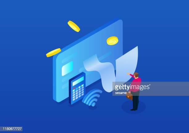 金融手形オンラインビュー - クレジットカード点のイラスト素材/クリップアート素材/マンガ素材/アイコン素材