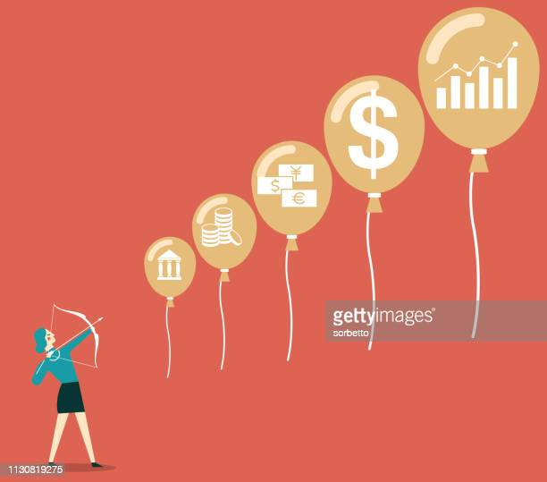 financial bubble - businesswoman - drive ball sports stock illustrations, clip art, cartoons, & icons