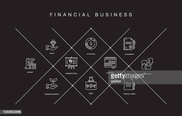 financial business line icons - accountancy stock illustrations