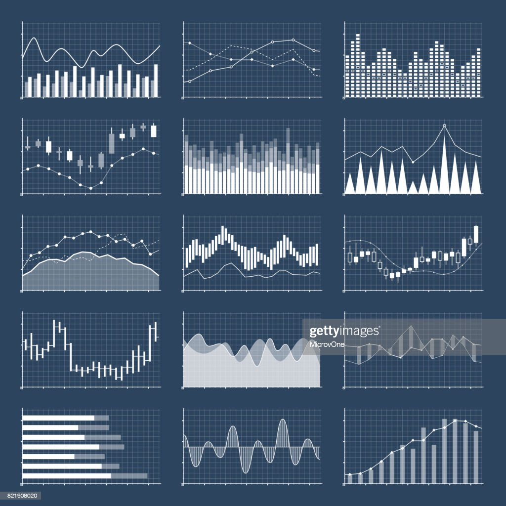 Financial candle stick graphs. Currency business and market charts vector set