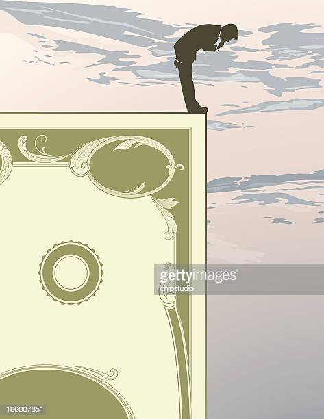financial cliff - money down the drain stock illustrations, clip art, cartoons, & icons