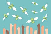 Financial conceptual illustration. Raised hands trying to catch flying money / flat editable vector illustration, clip art