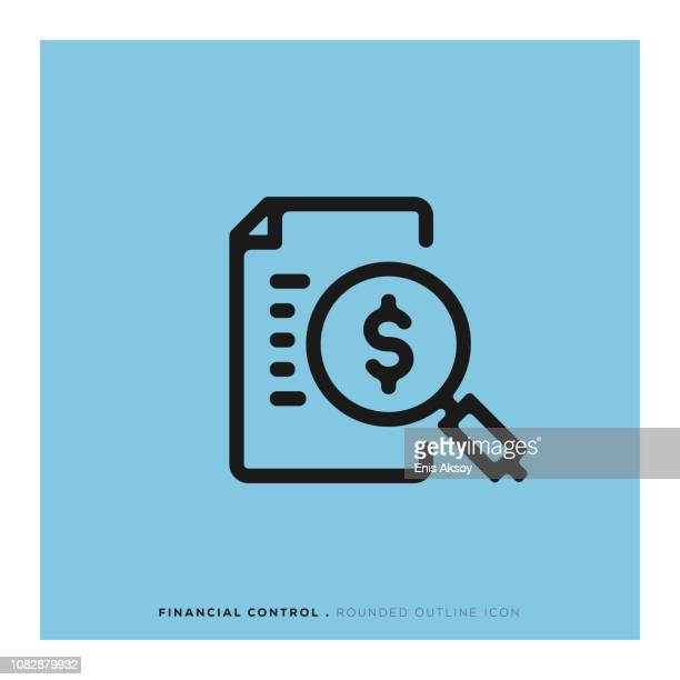 financial control rounded line icon - bank statement stock illustrations