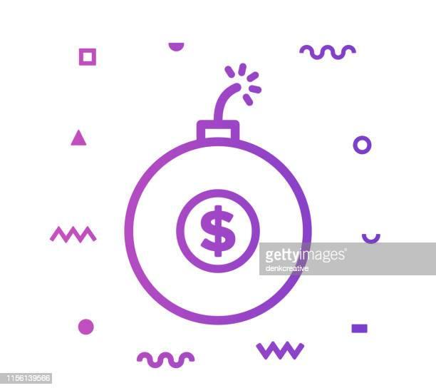 financial crisis line style icon design - destruction stock illustrations