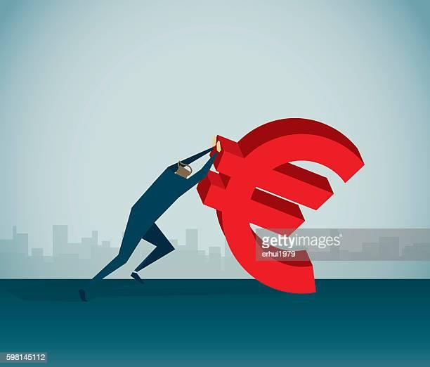 ilustrações de stock, clip art, desenhos animados e ícones de a crise financeira - unidade monetária da união europeia