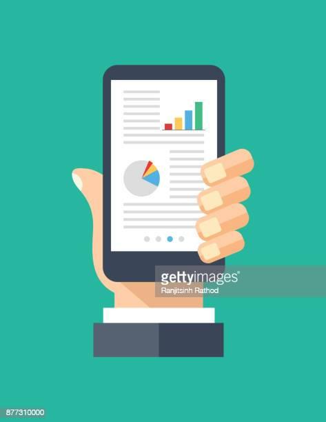 Financial data on smartphone screen. Human hand holding smartphone. Financial app, business app concepts. Modern elements. Flat design vector illustration