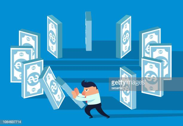 financial domino effect - domino effect stock illustrations