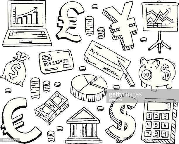 financial doodles - pencil drawing stock illustrations
