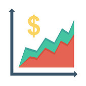 Financial graph Flat Vector Icon