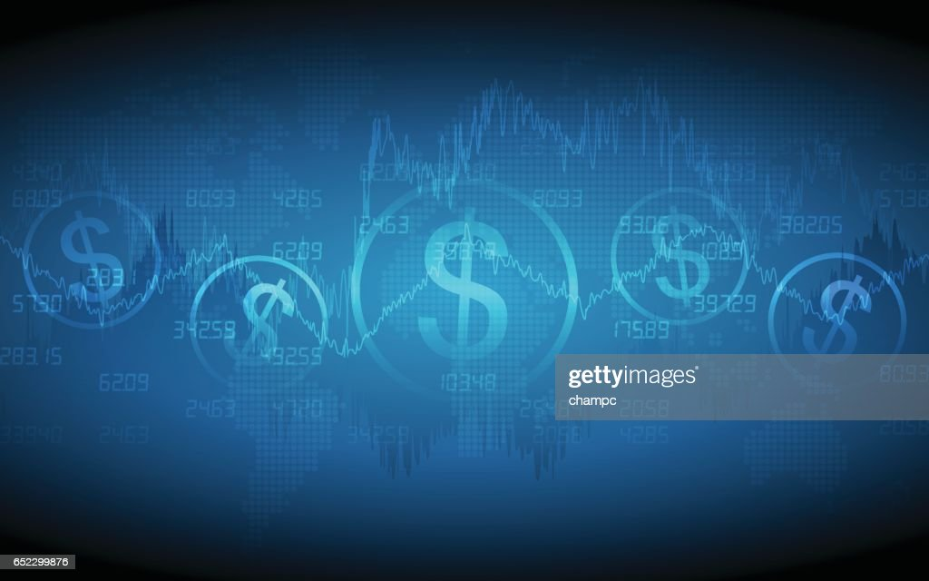 Financial graph with dollar sign and world map