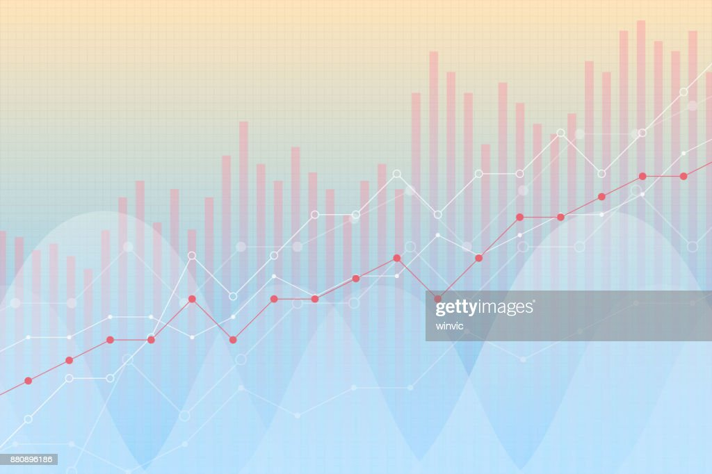 Financial growth, revenue graph, vector illustration. Trend lines, columns, market economy information background, bright colors, visual diagram. Chart analytics, strategy concept.
