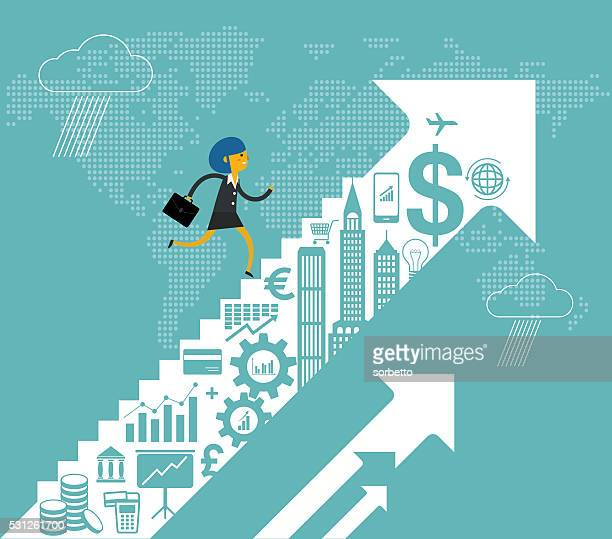 financial growth - ladder of success stock illustrations