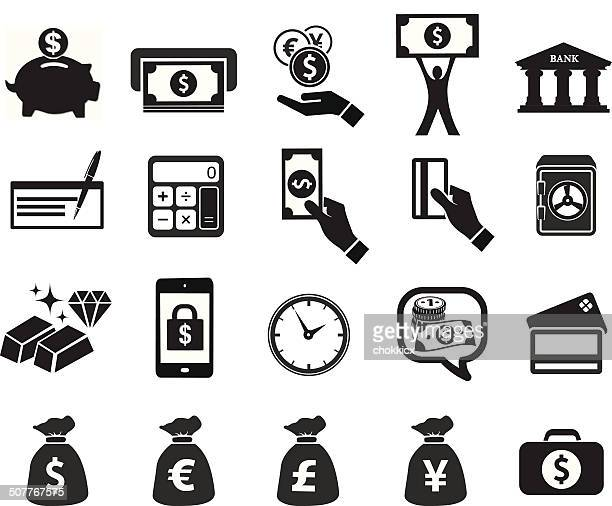 financial icon set - american one dollar bill stock illustrations, clip art, cartoons, & icons