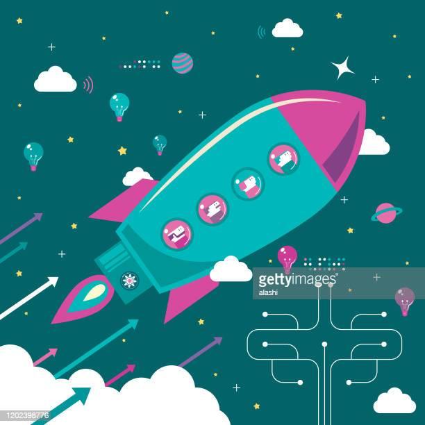 illustrazioni stock, clip art, cartoni animati e icone di tendenza di concetto di lavoro di squadra aziendale infografico finanziario, quattro persone su razzo volante (astronave, space shuttle) - scoprire nuovi terreni