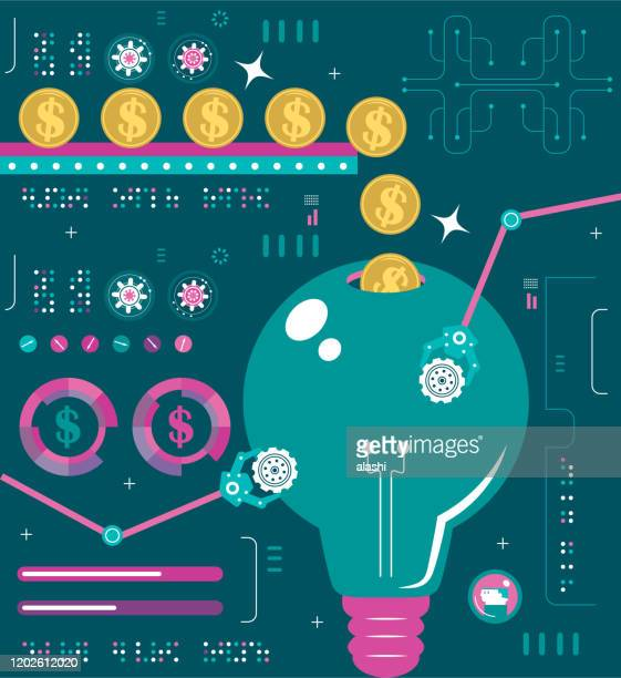 financial infographic creative business concept about crowdfunding, investing in good idea and financial technology - deep learning stock illustrations