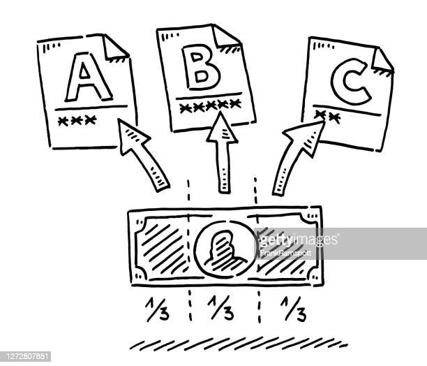 financial investment risk allocation drawing - small group of objects stock illustrations