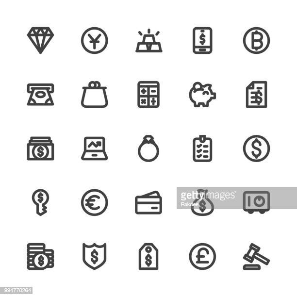 financial item icons - bold line series - cash flow stock illustrations, clip art, cartoons, & icons
