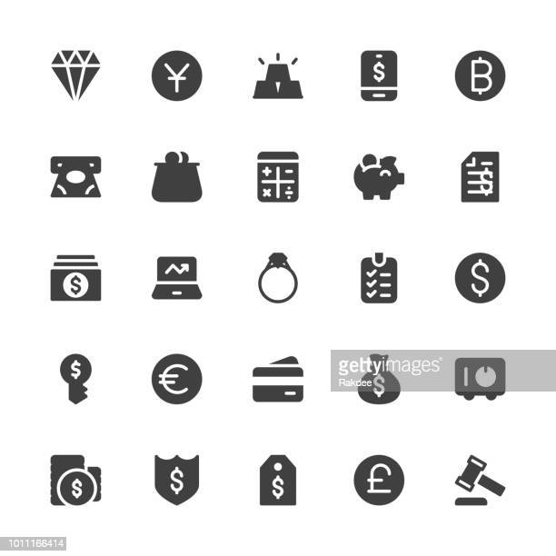 financial item icons - gray series - cash flow stock illustrations, clip art, cartoons, & icons