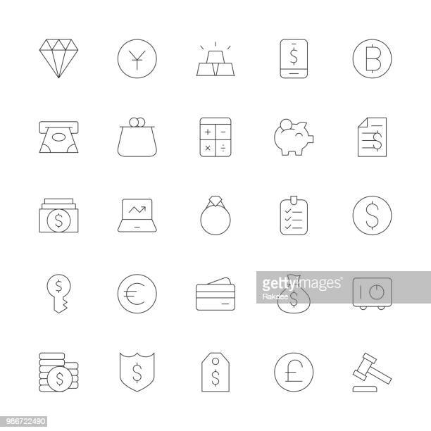 financial item icons - ultra thin line series - cash flow stock illustrations, clip art, cartoons, & icons