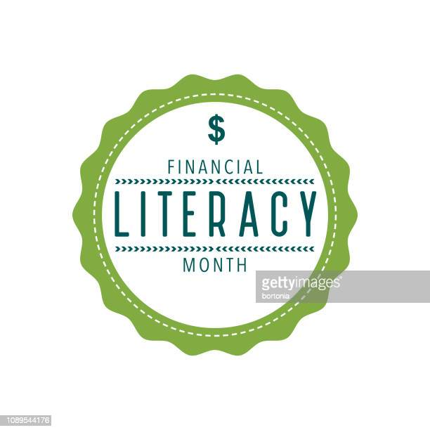 financial literacy month label - month stock illustrations