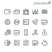 Financial management line icons. Editable stroke. Pixel perfect.