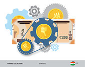 Financial mechanism with 200 Indian Rupee Banknote and coins. Flat style vector illustration. Finance concept.