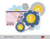 Financial mechanism with 200 Turkish Lira Banknote and coins. Flat style vector illustration. Finance concept.