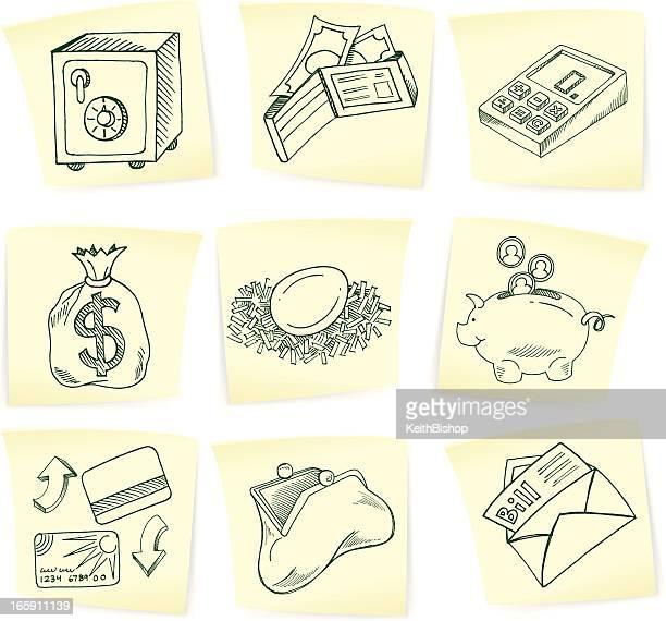 ilustrações, clipart, desenhos animados e ícones de financial dinheiro rabiscos em notas autoadesivas - office safety