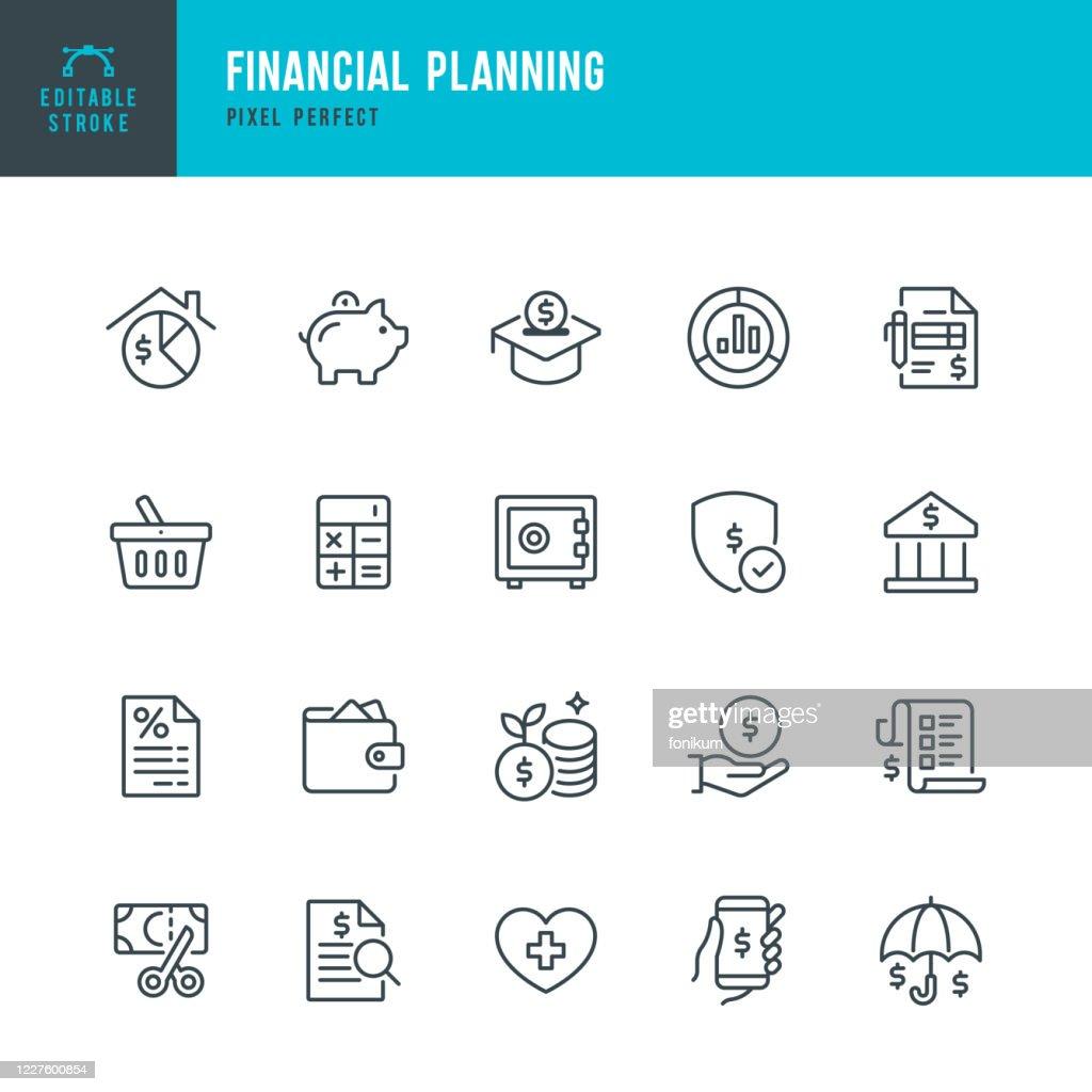 Finanzplanung - Dünnlinien-Vektorsymbolgesetzt. Pixel perfekt. Das Set enthält Symbole: Finanzplanung, Sparschwein, Sparen, Wirtschaft, Versicherungen, Hausfinanzen. : Stock-Illustration