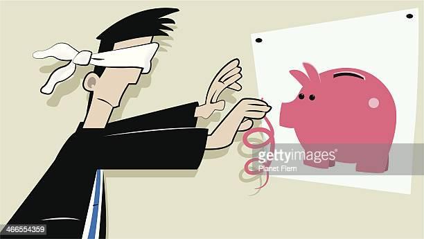 ilustraciones, imágenes clip art, dibujos animados e iconos de stock de planificación financiera - ojos tapados