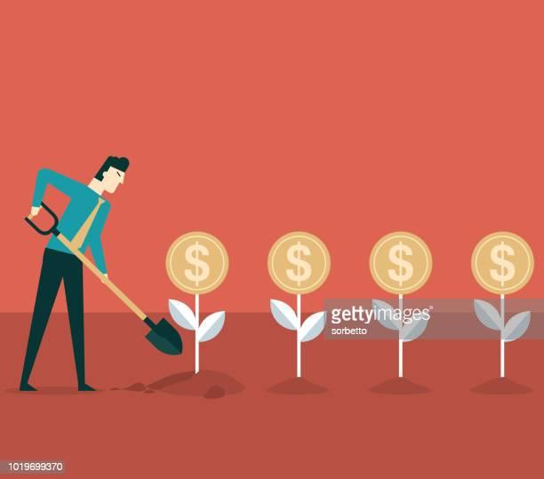 financial profit - businessman - landscaper professional stock illustrations, clip art, cartoons, & icons