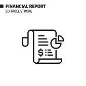 financial report line icon outline vector