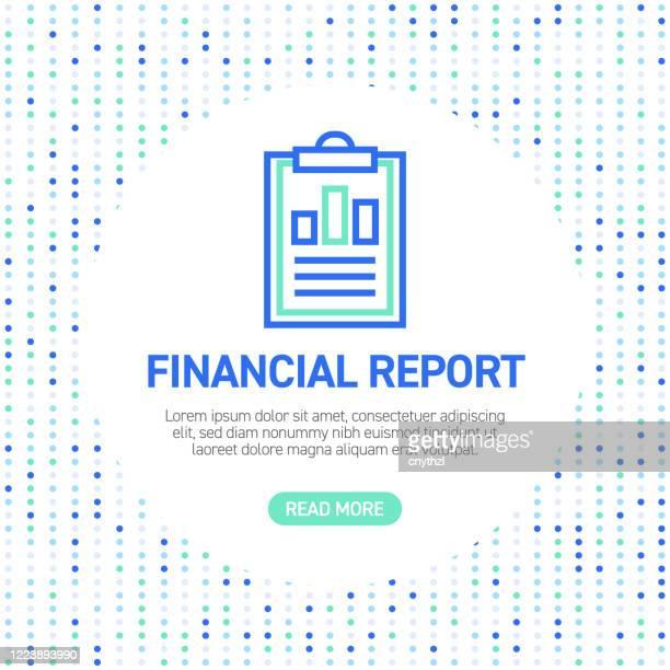 illustrazioni stock, clip art, cartoni animati e icone di tendenza di icone della riga del report finanziario. icone contorno semplici con motivo - rapporto finanziario