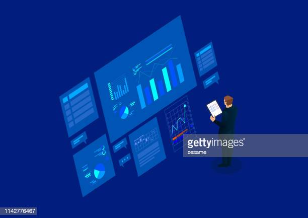financial research, data management - control stock illustrations
