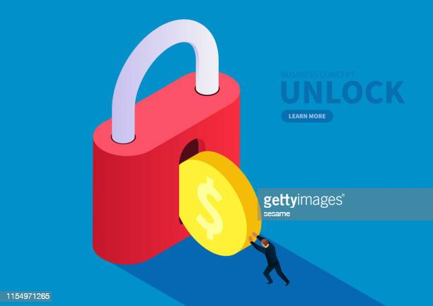 financial security, the merchant pushes the gold coin into the lock - solid stock illustrations
