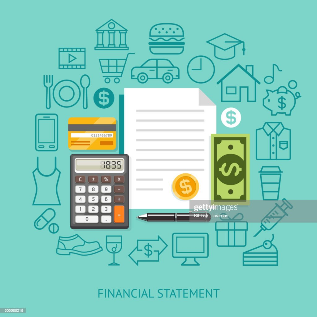 Financial Statement Conceptual Flat Style.