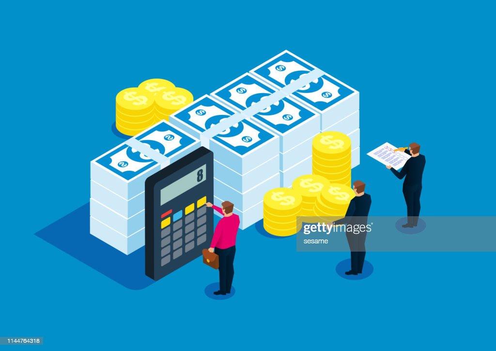 Financiële statistieken, accountant, Bill berekening : Stockillustraties