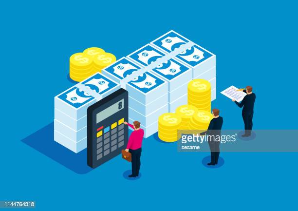 financial statistics, accountant, bill calculation - loan stock illustrations